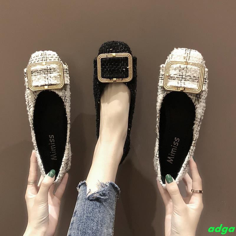Single shoes female 2019 spring new Korean version of shallow mouth flat shoes square head gentle wind fairy night shoes