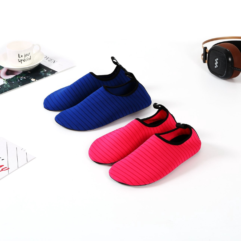 Ready MMI☼Stripe Anti-slip Fitness Shoes Quick-dry Lightweight Men Beach Diving Shoes