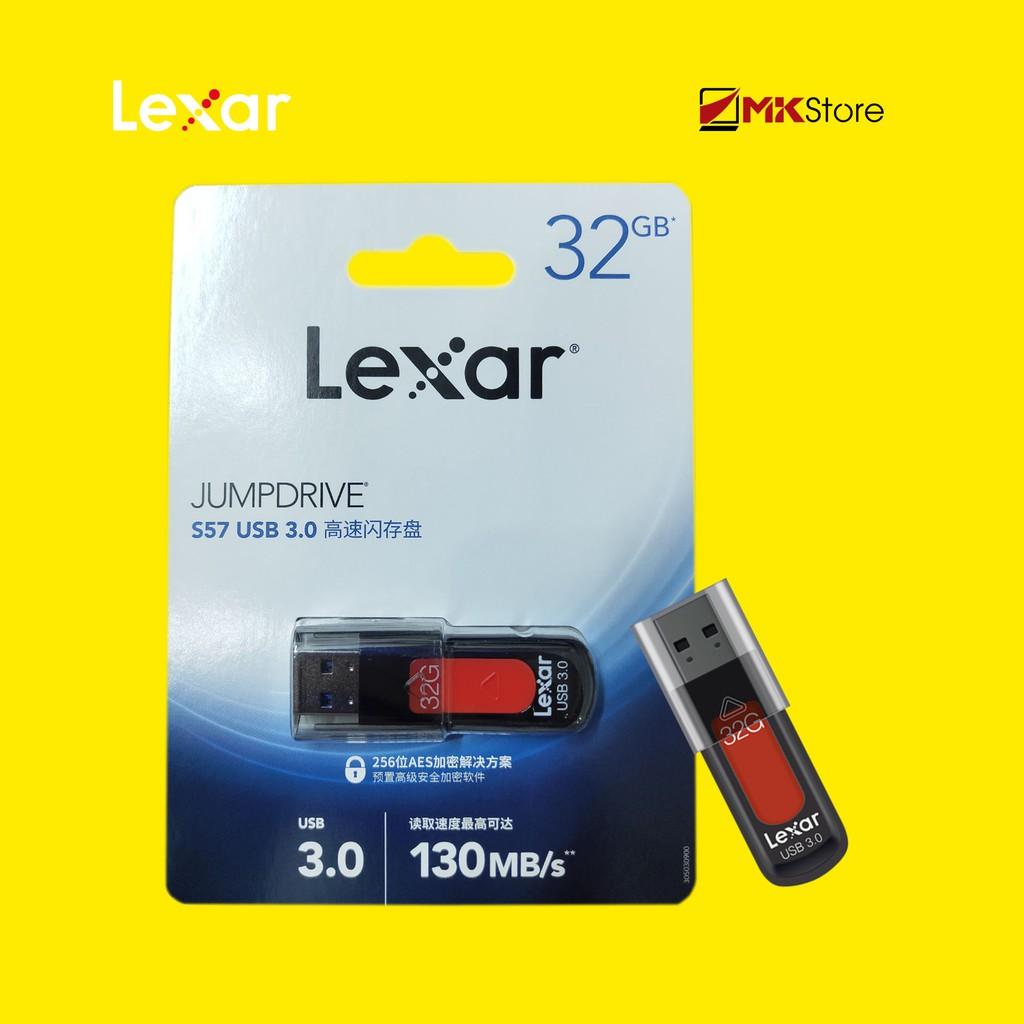 [Mã ELFLASH1 hoàn 10K xu đơn 20K] USB 32Gb Lexar Jumdrive S57 USB 3.0 RED