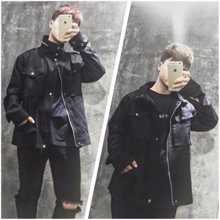 Áo khoác kaki túi hộp – Black Jacket