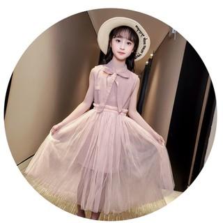 Váy công chúa bé gái 💖FREESHIP💖 Váy công chúa cao cấp, áo sát nách, cổ thắt nơ, chân váy lưới phong cách Hàn Quốc