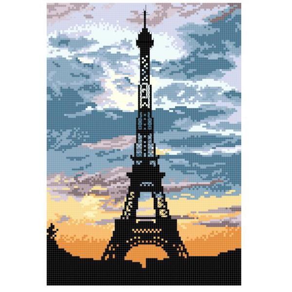 Tranh Gắn Đá Hạt Vuông Đính Toàn Bộ Tháp Eiffel Vào Lúc Hoàng Hôn