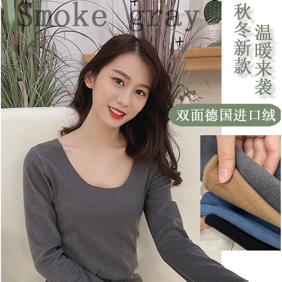 0422 Double-sided Velvet Thermal Underwear Long-sleeved Non-marking Cationic Bottoming Shirt