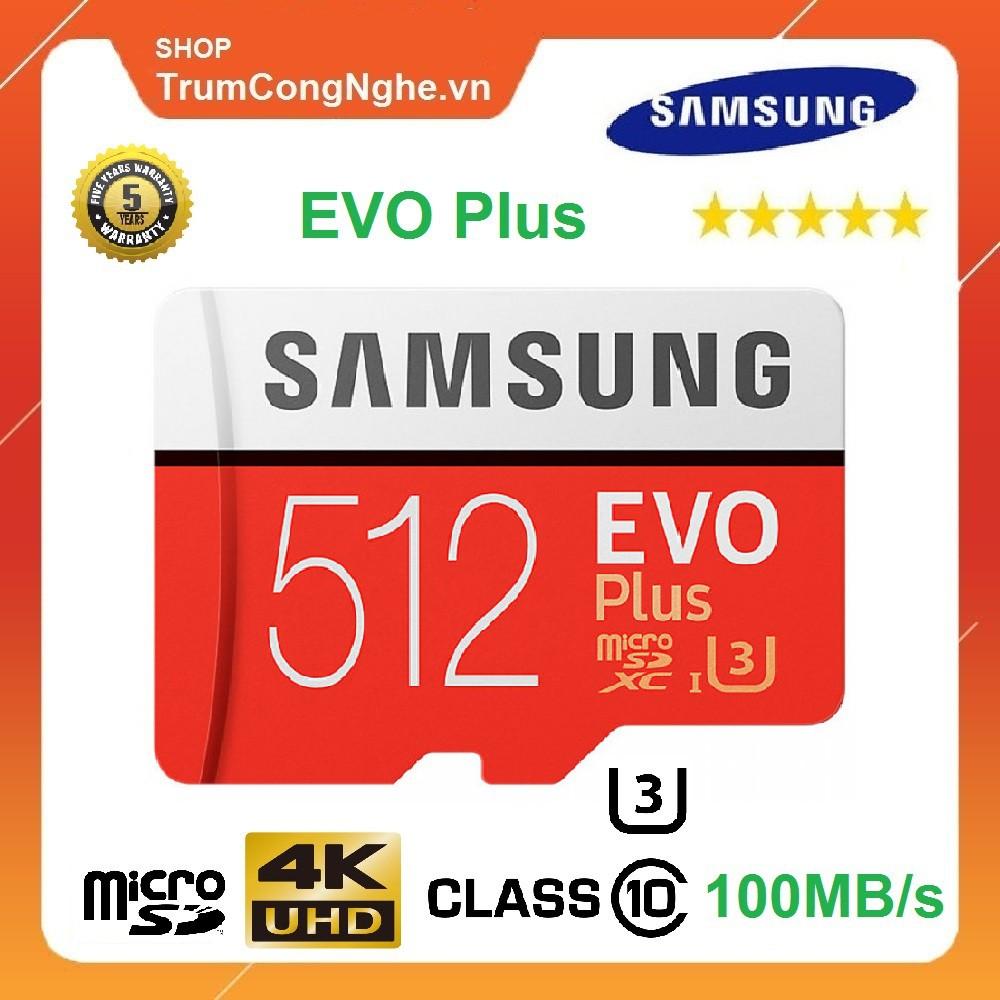 [Mã ELMS5 giảm 7% đơn 300K] Thẻ Nhớ 512GB MicroSDXC Samsung EVO Plus Class10 U3 100MB/s Tốc độ Siêu Nhanh