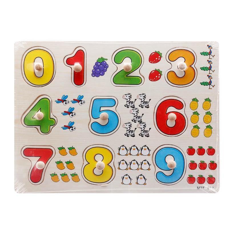 Bảng núm xếp hình số đếm gỗ dạy nhận biết