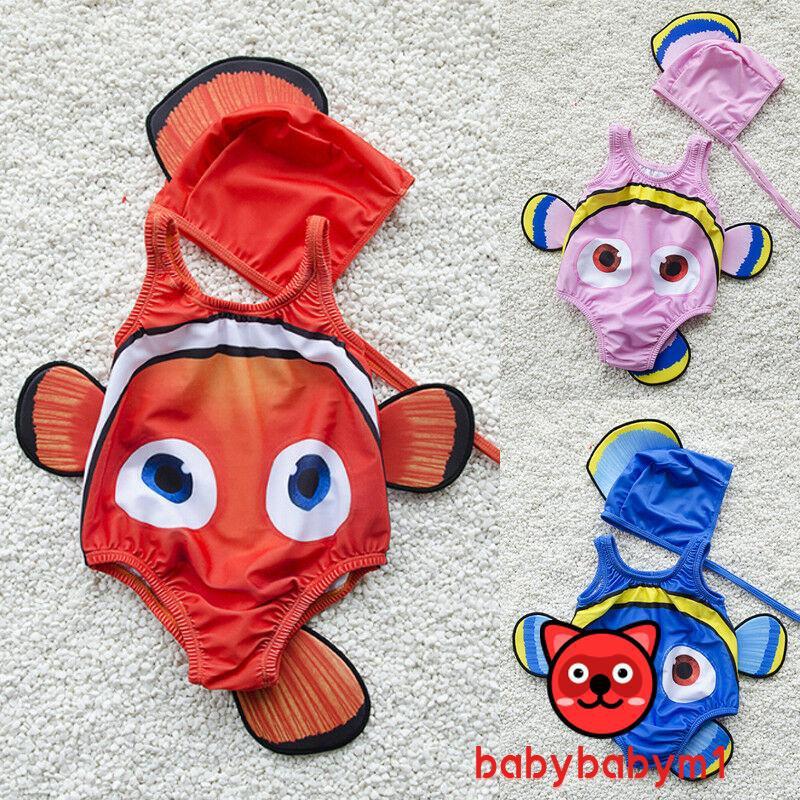 Bộ đồ bơi liền thân thiết kế hình chú cá ngộ nghĩnh kèm mũ cho bé gái