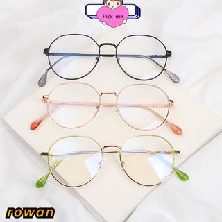 ROW Ultralight Myopia Glasses Reduces Eye Strain Anti-UV Flat Mirror Eyewear Metal Round Frame High-definition Blue Rays Radiation Unisex Eyeglasses/Multicolor