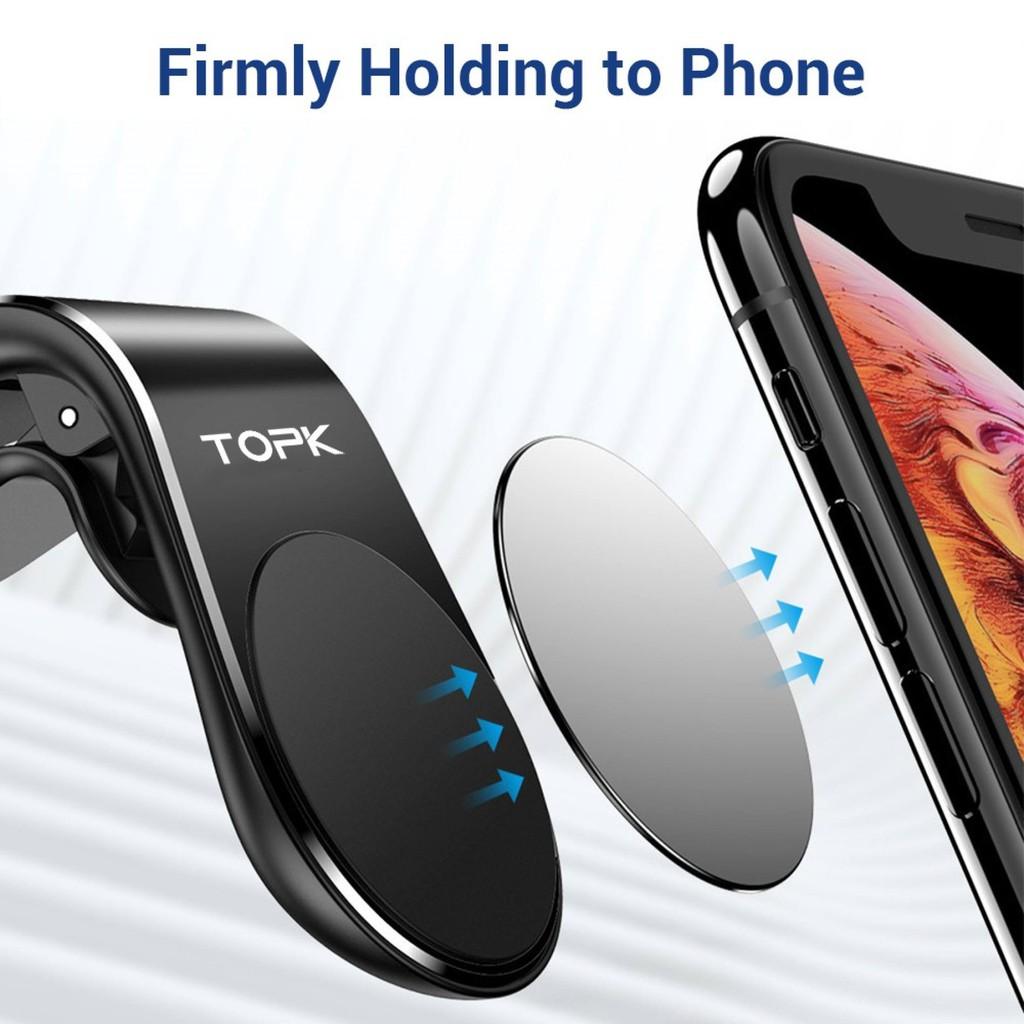 Giá Đỡ Điện Thoại Xe Hơi Nam Châm TOPK D11, Giá Gắn Lỗ Thông Hơi Hình Chữ L Giá Đỡ Điện Thoại Di Động Cho Iphone GPS