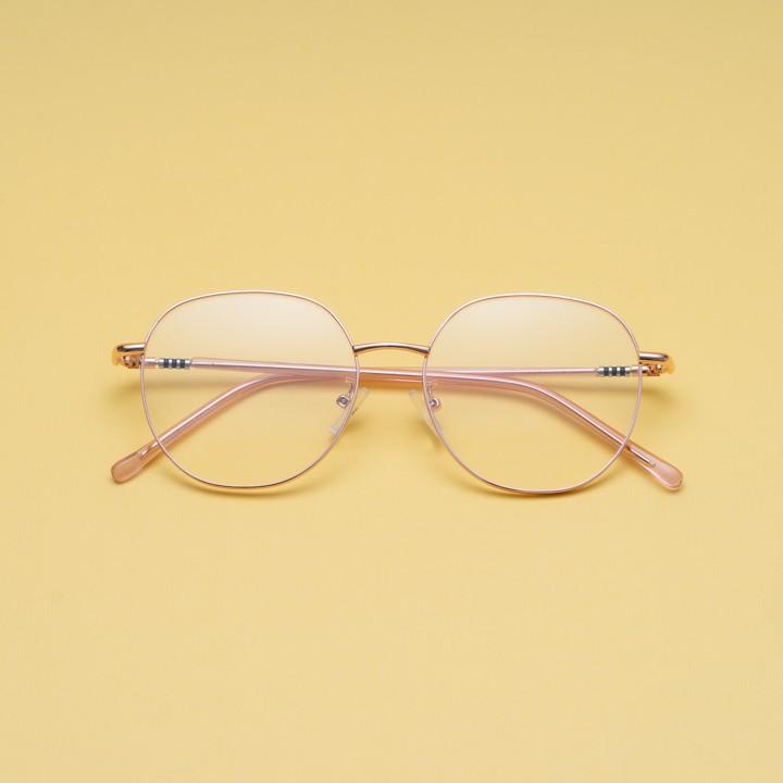Gọng kính cận kim loại cho mặt tròn 4U, mắt vuông chống bụi hoặc lắp cận, màu vàng hồng và...