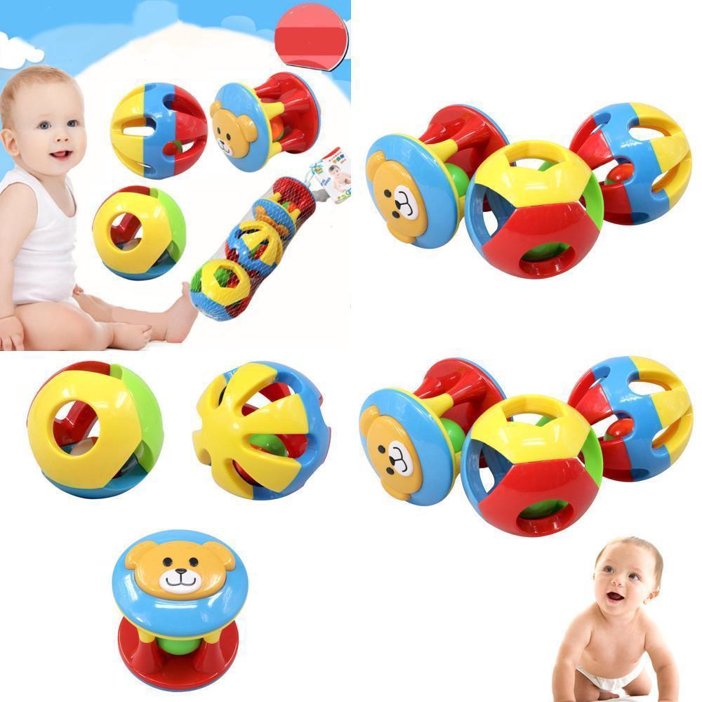 Infant Baby Grasping Rattles Ball Kids Boys Jingle Bell Educational Toys 3Pcs
