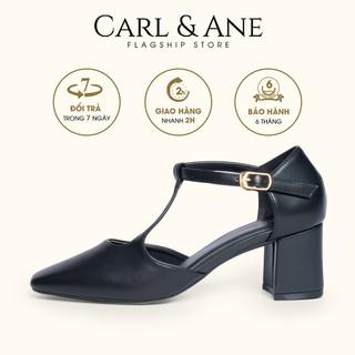 Carl & Ane - Gia y cao go t thời trang phô i dây quai ma nh đơn gia n cao 5cm ma u đen _ CL006 thumbnail
