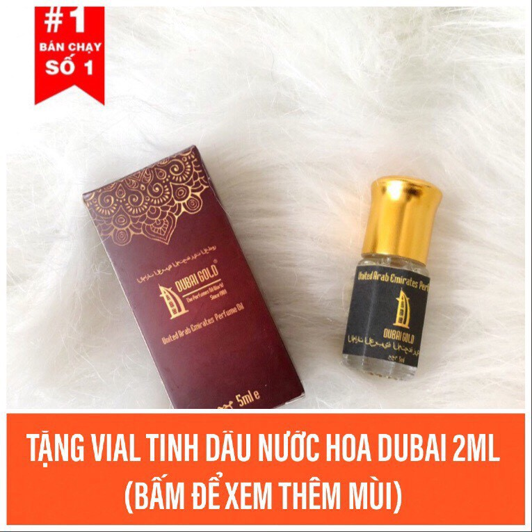 Tinh dầu nước hoa Dubai 5ml lăn tặng kèm vial 2ml tinh dầu nước hoa Dubai có hộp và mã vạch đầy đủ.