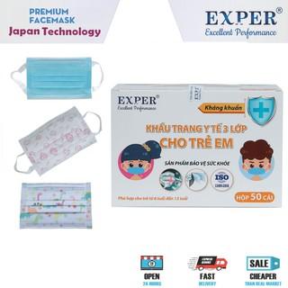 Khẩu trang y tế em bé Exper 3 lớp. Khẩu trang y tế trẻ em hộp 50 cái công nghệ Nhật không đau tai thumbnail