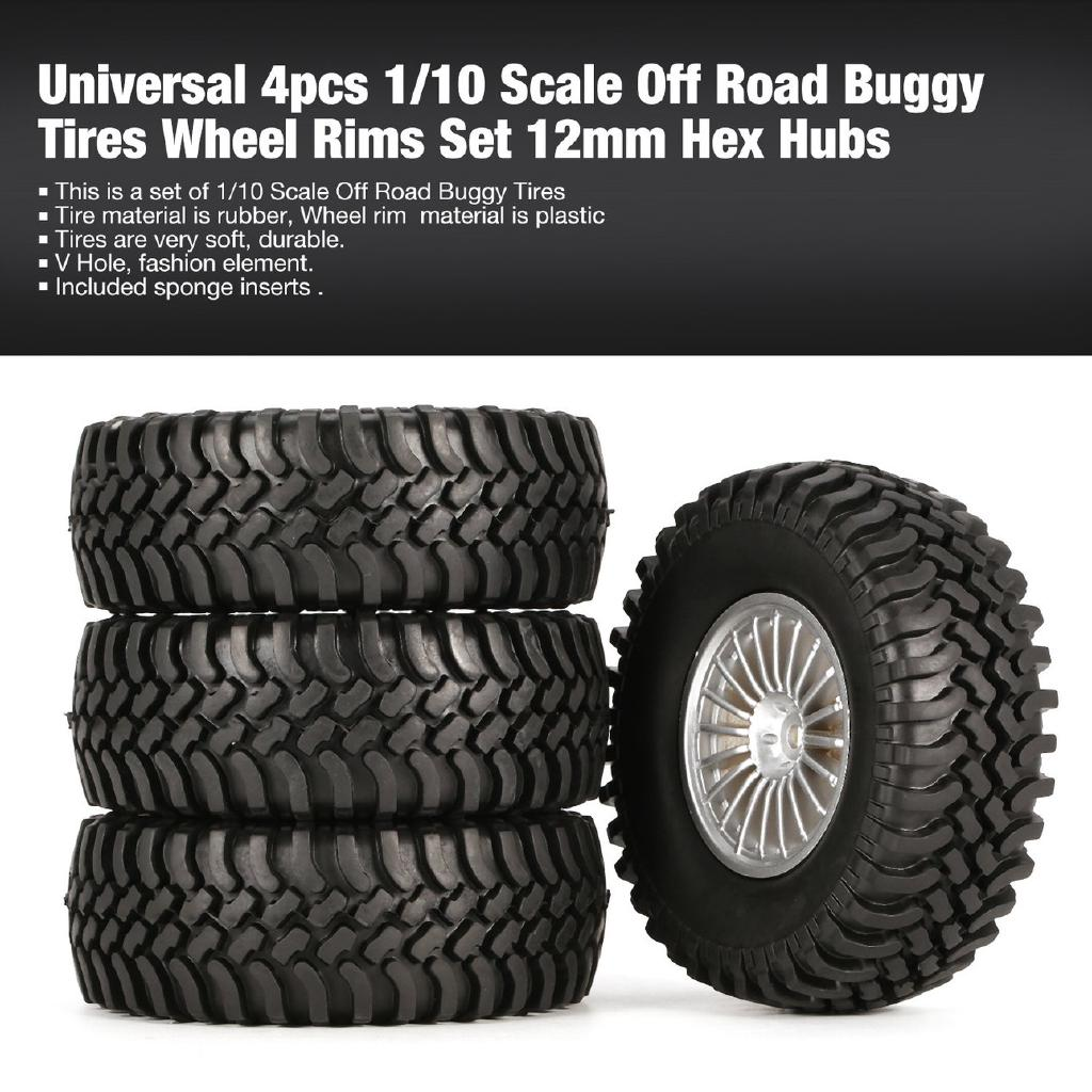 E Universal 4pcs 1/10 Scale Off Road Buggy Tires Wheel Rims Set 12mm Hex Hubs