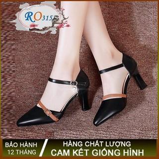 Giày sandal nữ cao gót 6p hàng hiệu rosata hai màu đen da ro315
