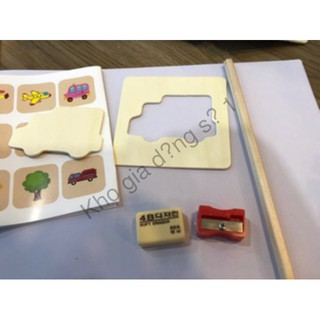 [FreeShip từ 150K] Bộ Khuôn hình cho bé tập vẽ gồm 50 chi tiết hoạt hình,Vở,bút màu, bút chì.. sỉ lẻ số 1