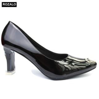 Giày cao gót trong da bóng 7P mũi kim loại đính đá Rozalo R6617 thumbnail