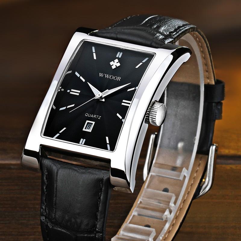 WWOOR Men's Sports Watch Waterproof Genuine Quartz Leather Strap Fashionable Stainless Steel - 8017