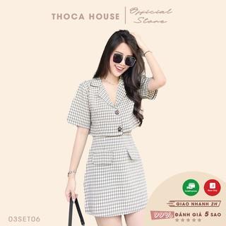 Set vest trẻ trung croptop tay ngắn phối chân váy caro kem THOCA HOUSE chuẩn form năng động, thoải mái thumbnail