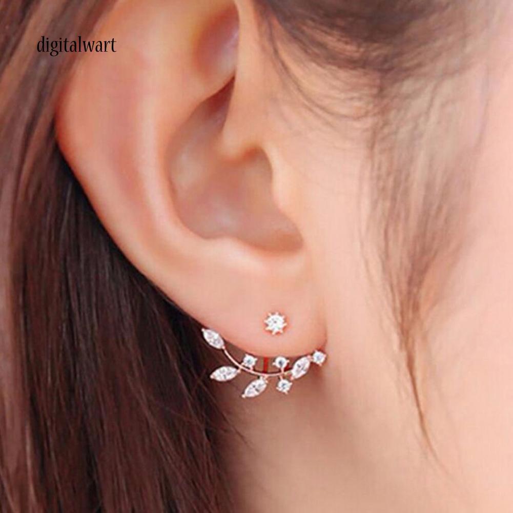 Cặp khuyên tai thiết kế hình lá đính hạt kim cương nhân tạo sang trọng lấp lánh dành cho nữ