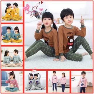 Bộ đồ ngủ tay dài 2 món chất liệu cotton in họa tiết gấu dễ thương cho bé trai và gái