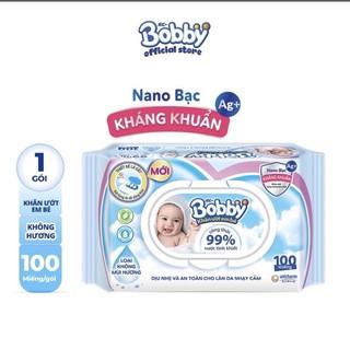 Combo 10 gói khăn ướt có mùi/ không mùi Bobby 100 miếng