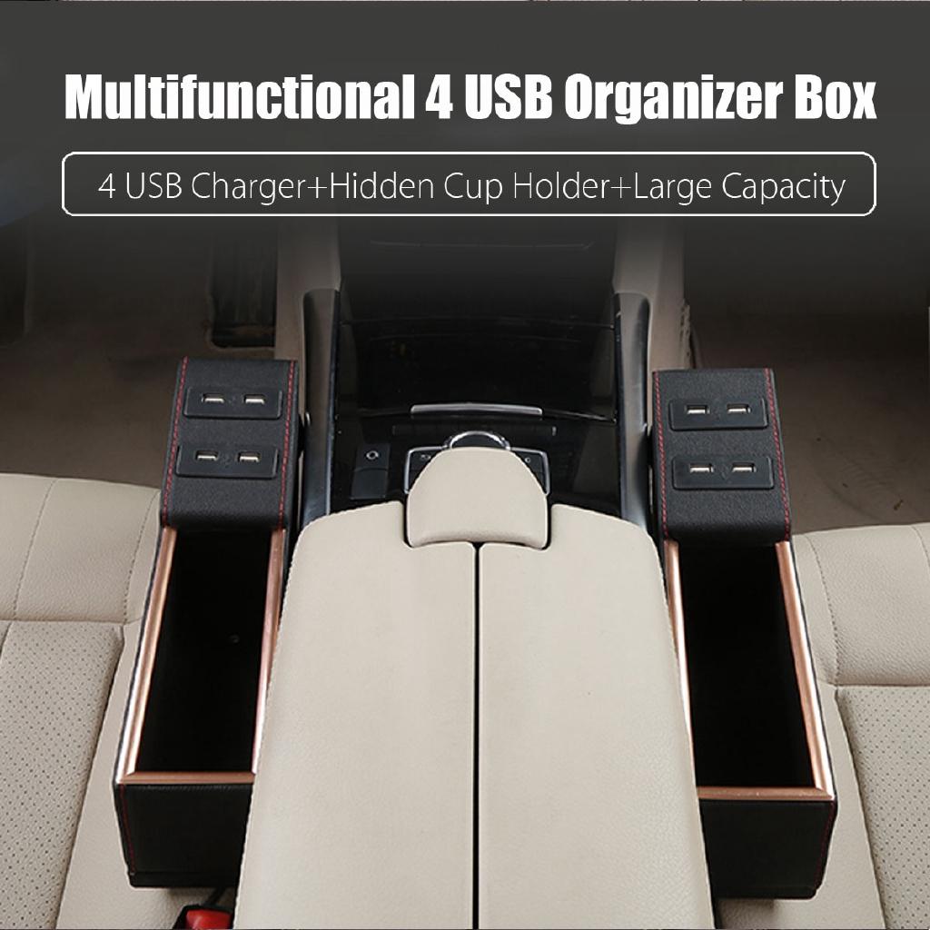 PU Leather 4 USB Car Seat Gap Slit Filler Pocket Catcher Storage Box &Cup Holder