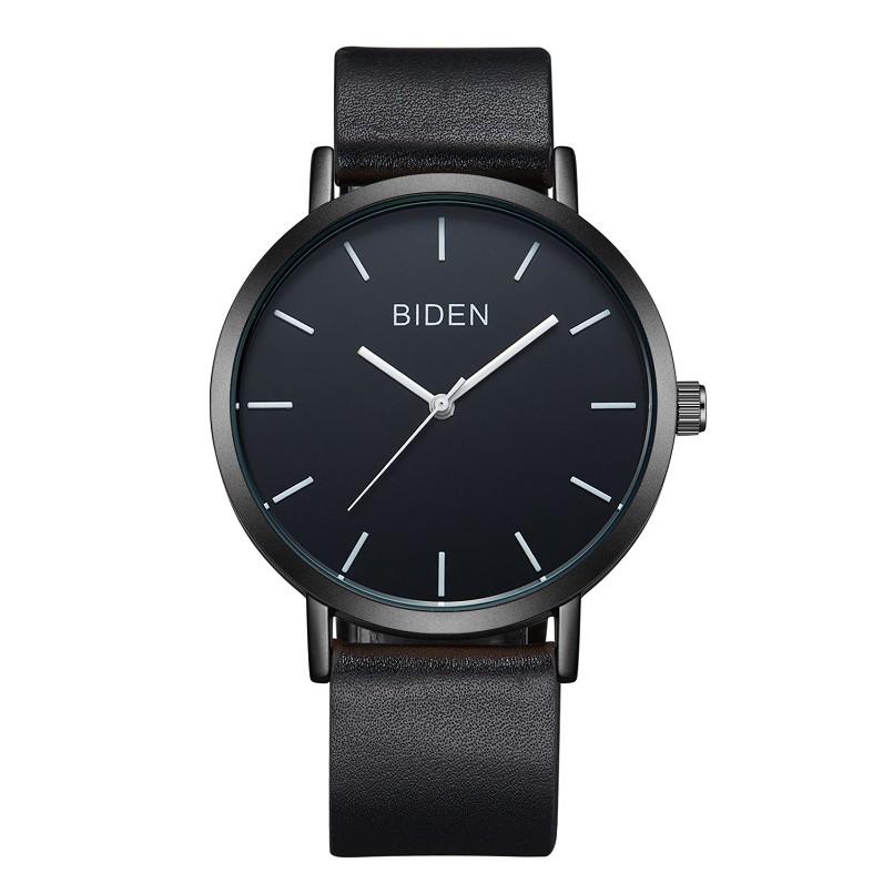 Đồng hồ nam BIDEN dây da sang trọng chống nước 3ATM, chống xước BIDN4