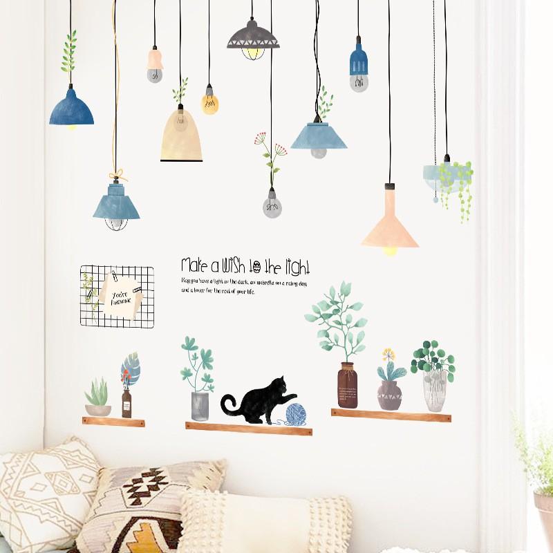Decal dán tường Sticker mẫu đèn chùm và hoa ZH030