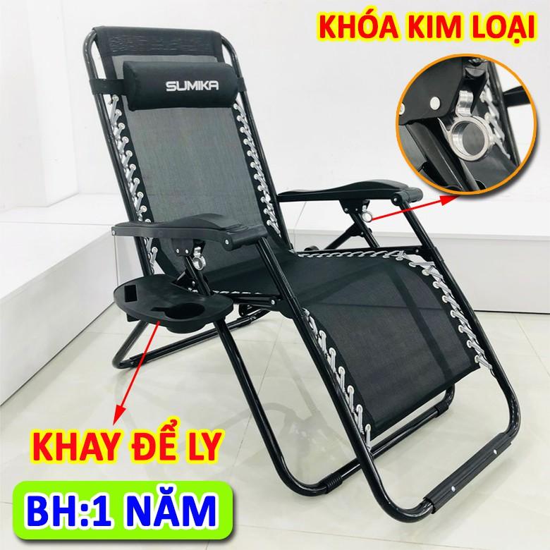 Ghế gấp xếp thư giãn SUMIKA 179A (Khóa bằng kim loại,tặng khay để ly,bảo hành 1 năm,) ghế bố, ghế văn phòng
