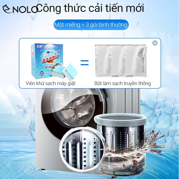 Combo 24 Viên Nén Vuông Vệ Sinh Khử Mùi Lồng Máy Giặt Dùng Cho Cả Dòng Máy Cửa Trên Và Cửa Ngang