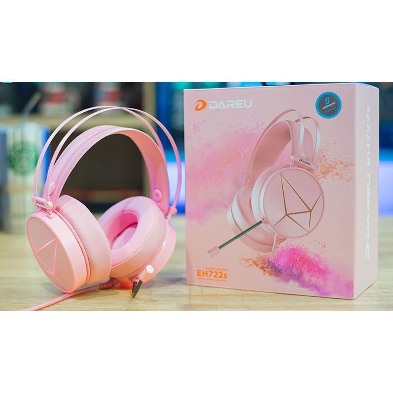 Tai Nghe Gaming DAREU EH722s Pink Âm Thanh 7.1 Jack USB - Tai Nghe Màu Hồng Led RGB
