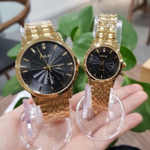 Cặp đồng hồ đôi Halei dây thép đúc máy Nhật mạ vàng không gỉ chống nước chống xước chính hãng Tony Watch 68