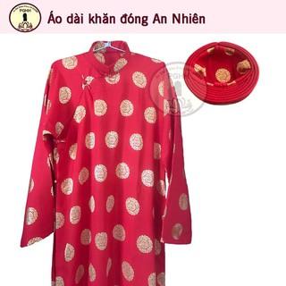 Áo dài khăn đóng nam vải Thái Tuấn cao cấp – màu đỏ (Áo dài và khăn đóng)