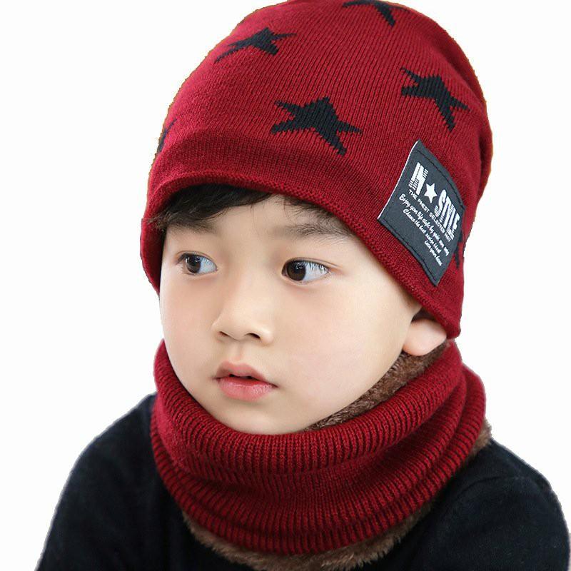 .[GIÁ CỰC SÂU] Set Mũ len kèm khăn hình sao có lót lông cho trẻ em