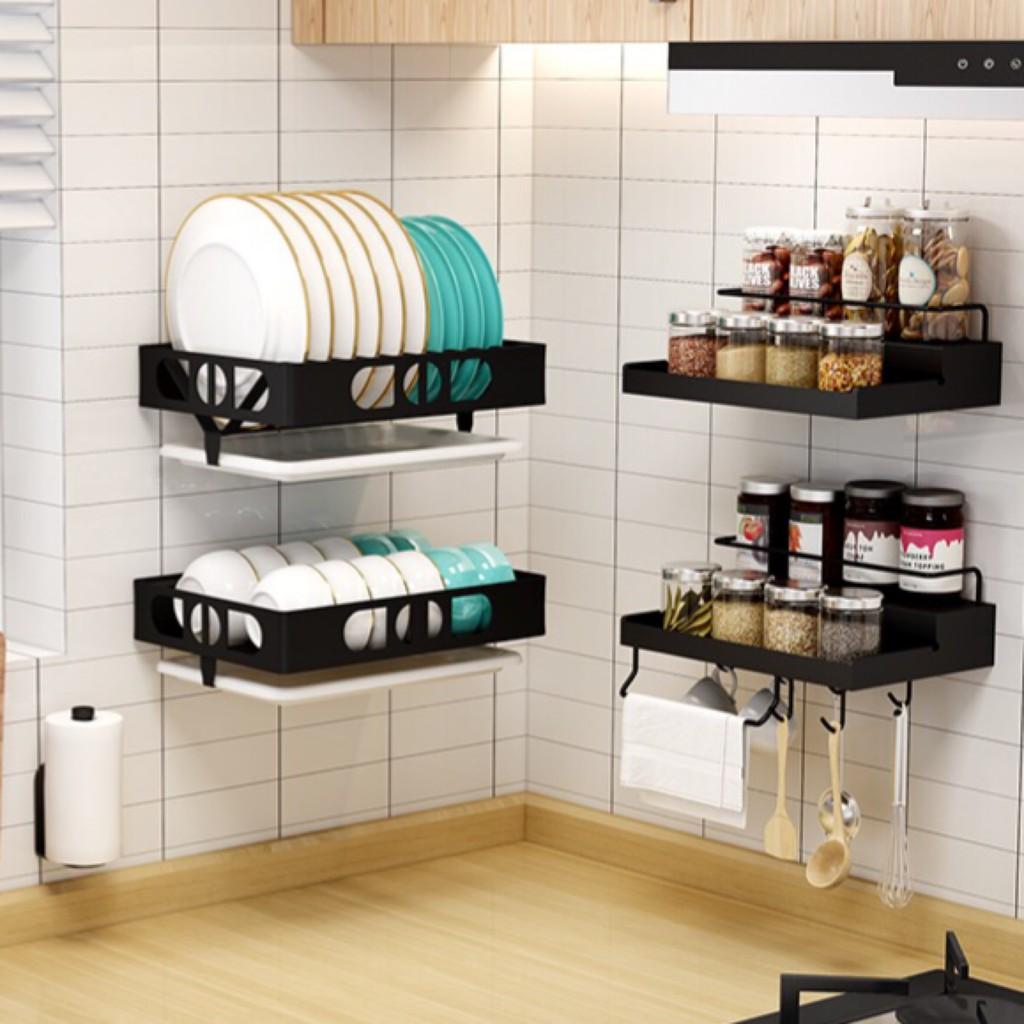 Kệ nhà bếp dán tường, kệ treo tường để dụng cụ nhà bếp, kệ gia vị, kệ chén đĩa, móc treo tường, giá treo khăn