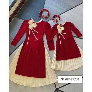 Sét áo dài cách tân cho bé gái 3 bông hoa, áo dài cách tân màu đỏ (kèm mấn)