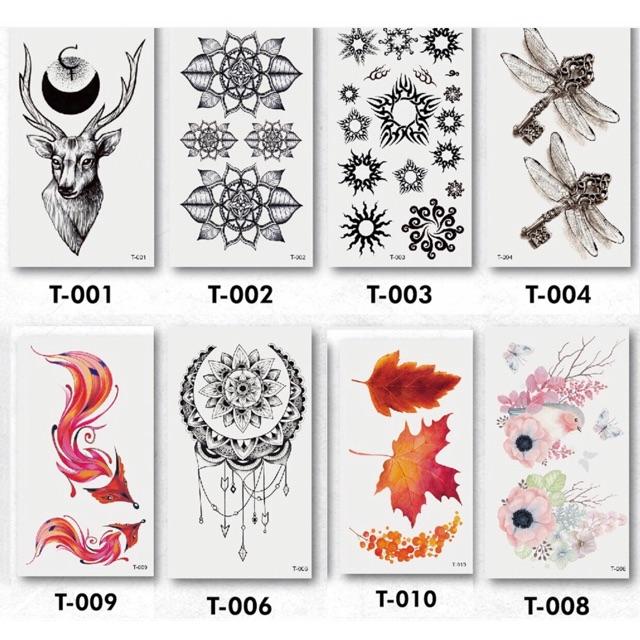 Bộ Nhiều Mẫu anime, xăm 3D Hình Xăm Dán, Hình Xăm henna Tattoo Cao Cấp