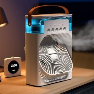 Quạt tích điện phun sương, quạt để bàn tích hợp đèn ngủ có hẹn giờ phun sương 5 tia siêu mát