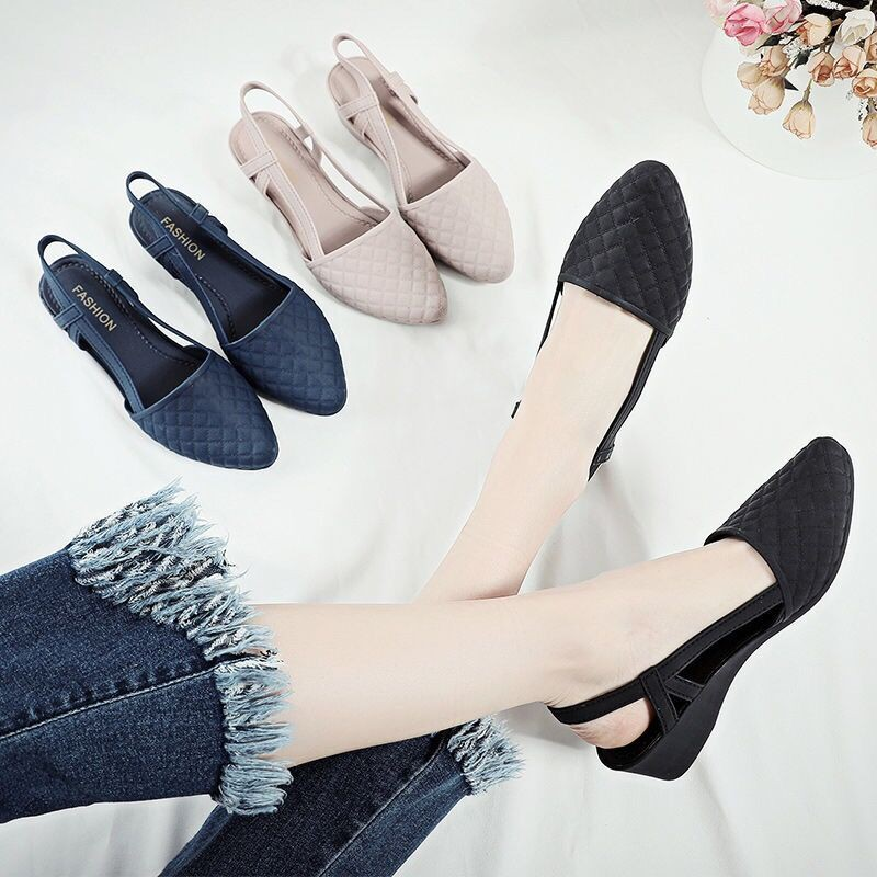 Giày nhựa đi mưa cao 5p, xăng đan phong cách Hàn Quốc màu đen, kem V183