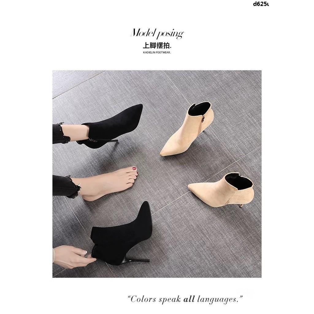 Giày Bốt Cao Gót Mũi Nhọn Phối Dây Xích Thời Trang 2019 Cá Tính Cho Nữ