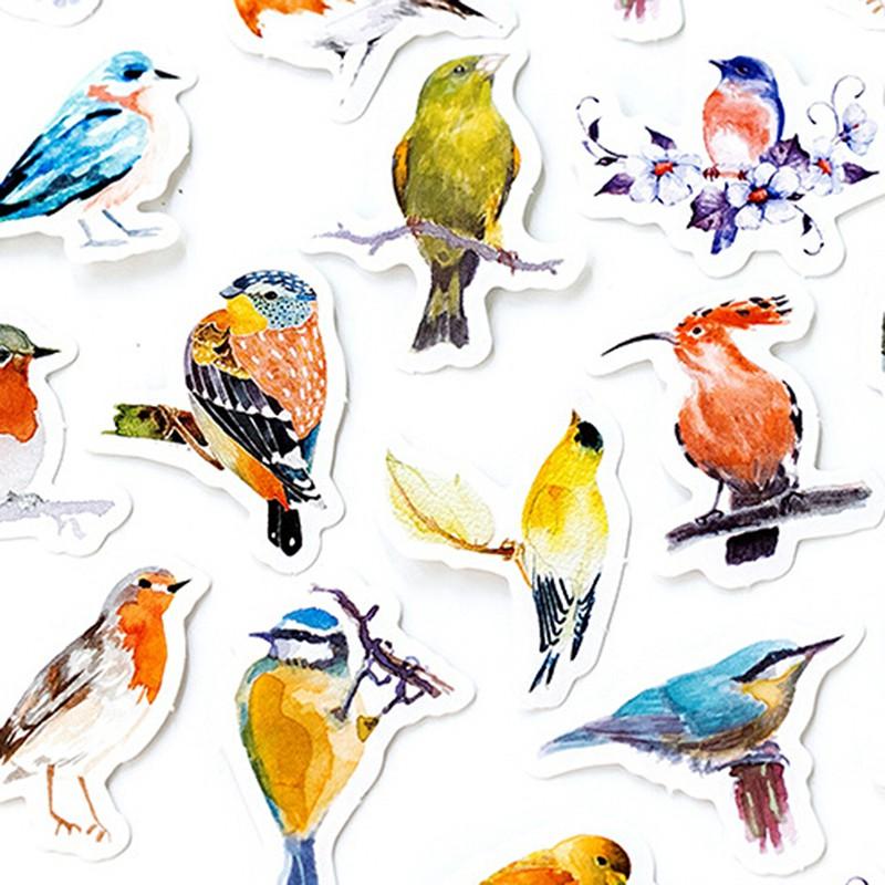 LOVEU* 45Pcs/box lovely birds stickers scrapbook diary DIY notebook Skateboard decor