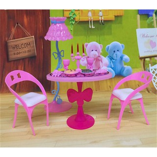 17pcs Candle Dinner Table Chair Food Tableware Lamp For Barbie Doll Home Decor
