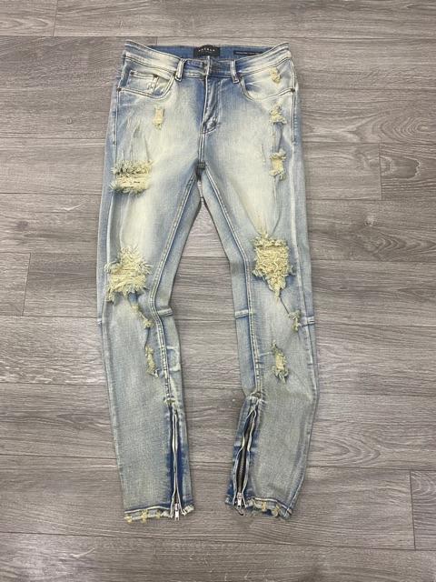 Quần Jeans Nam Rách Gối Khóa Zip Thương Hiệu PACSUN ( Hàng VNXK)