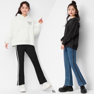 Quần bò jeans bé gái ống hơi loe có 2 viền bên hông dễ thương của Gu – Nhật