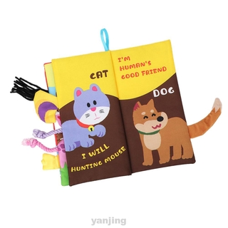 Cute English Story Soft Fabric With Animals Tails Intelligence Development First Year Early Learning Baby Cloth Books