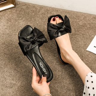 Fashionable Square Bow Flat Slipper Sandals for Women