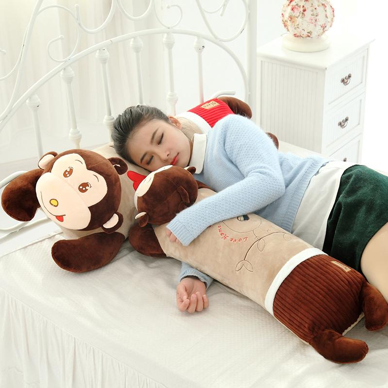 ☽Lying on the monkey holding Pillow plush toy doll dolls big sleeping children birthday gift Girl