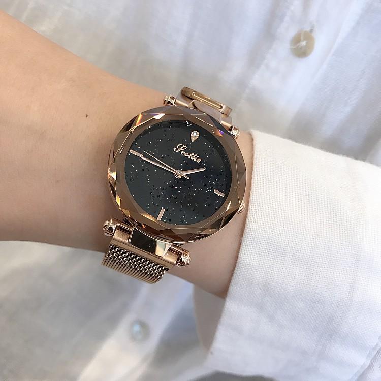Đồng hồ nữ SCOTTIE SC8053 dây thép mạ vàng mặt kim tuyến + Tặng pin và hộp