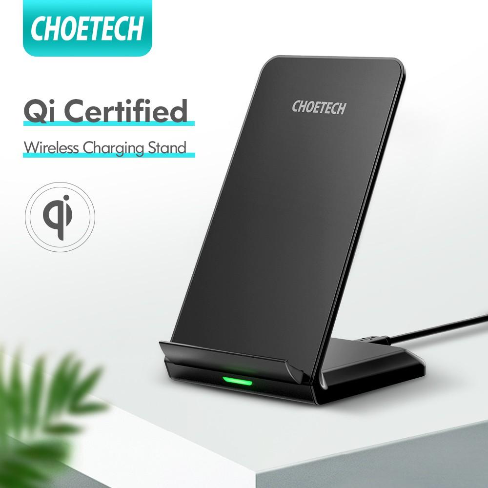 Đế sạc CHOETECH không dây hỗ trợ sạc nhanh tối đa 10W kèm cáp dài 1.2m cho Samsung